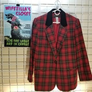 Sag Harbor Red & Black Wool Blend Plaid Blazer -12